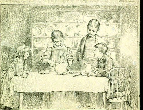 Sketch in pen of children making candy on a table