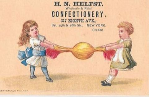Trade card advertising a New York confectionery. Victorian Children playing tug of war with a wrapped hard candy.