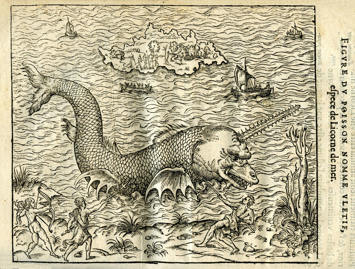Fish-like sea monster with ridged narwhal tusk emerging from the ocean in black and white print, faced by people on the sand defending themselves against the toothed, enormous beast.