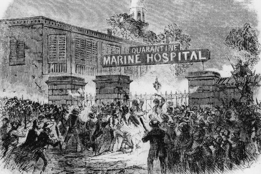 Black and white illustration showing a panicked crowd in front of a gated