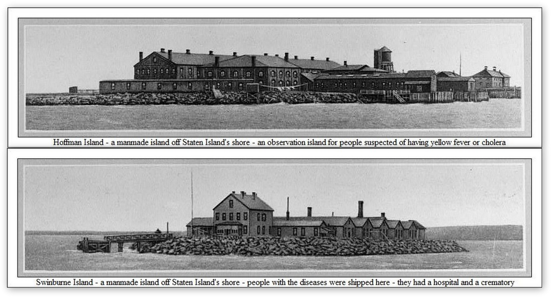 Two black and white images of small rocky islands holding brick buildings. Text on the photos say: