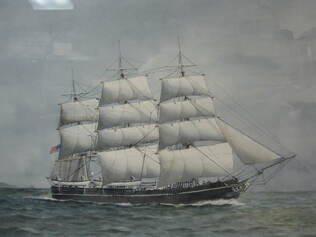 Painting of Splendid in full sail against a gray blue cloudy sky, traveling toward the right