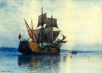Oil painting of a ship at anchor against a light yellow sky.