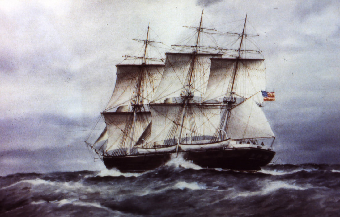 Painting of whaleship Sheffield on wavy ocean flying the American flag